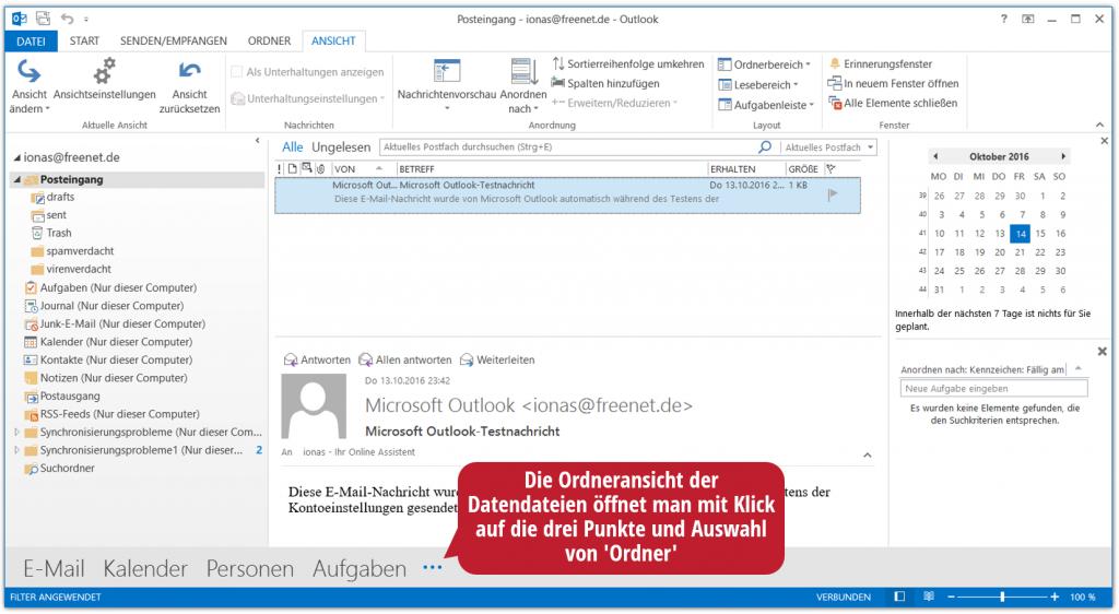 Der Ordnerbereich in Outlook in der Ordneransicht