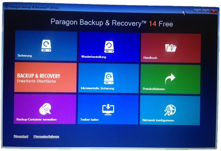 Paragon Startbildschirm nach Start von Rettungsmedium