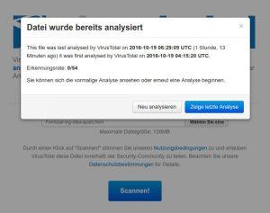 Virustotal.de meldet, dass sich in dem HTML-Formular kein bekannter Schadcode befindet.