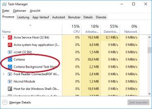 Cortana auch nach Deaktivierung noch im Task-Manager