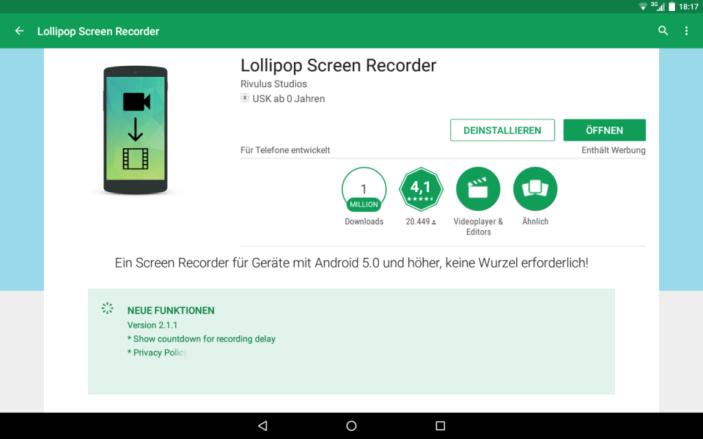 Lollipop Screen Recorder im Play Store