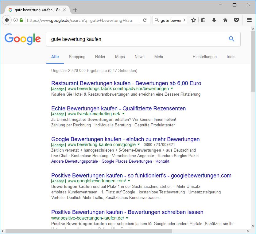 Google Adwords - gute Bewertungen online kaufen