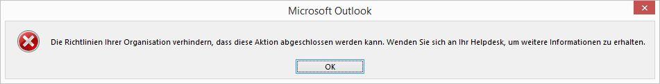 Windows-Fehlermeldung: Richtlinien Ihrer Organisation verhindern, dass diese Aktion abgeschlossen werden kann.