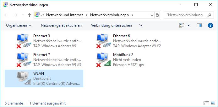Deaktivierter Wifi-Adapter im Netzwerk- und Freigabecenter