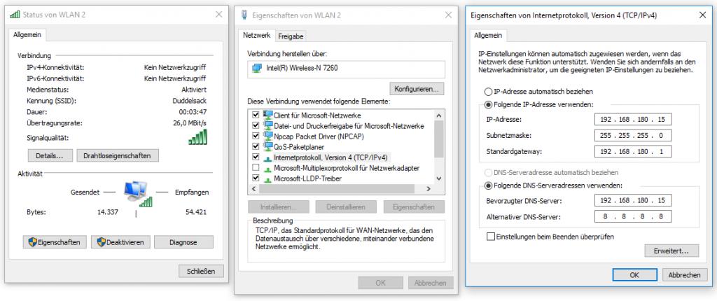Beispiel für eine statische IP-Konfiguration