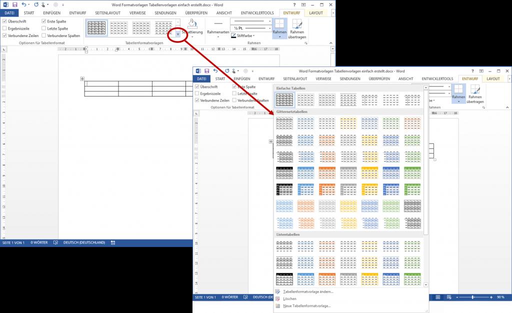 Word Tabellenformatvorlage: Neue Tabellenvorlage erstellen