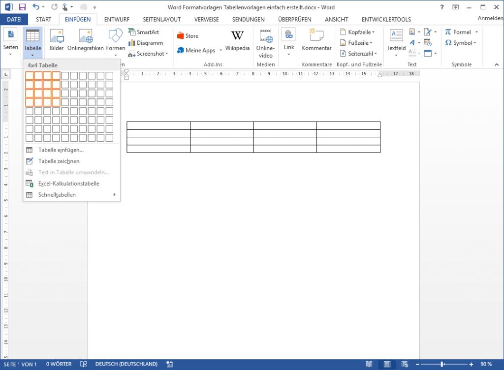 Word Tabellenformatvorlage: Neue Tabelle einfügen