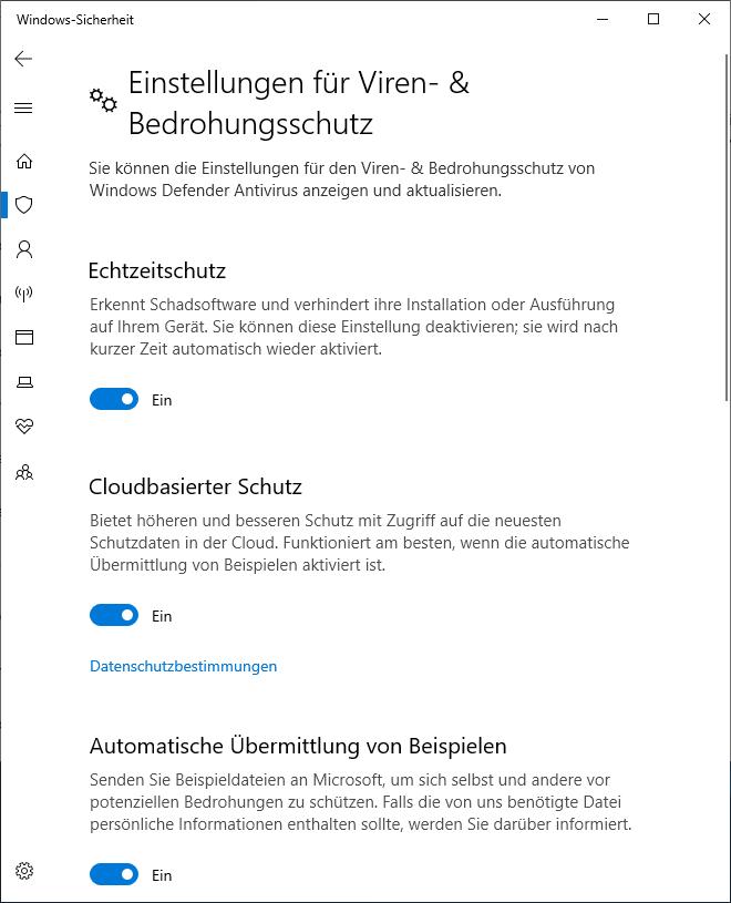 Viren-&Bedrohungsschutz des Windows Defenders deaktivieren