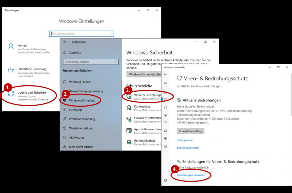 Klickabfolge zum Viren- und Bedrohungsschutz in Windows 10