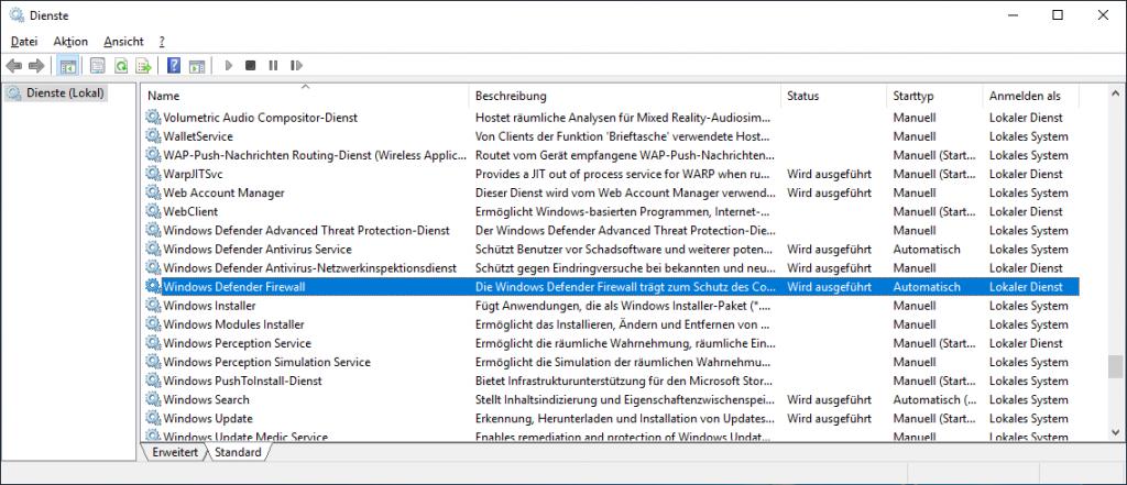 Vier zum Windows Defender gehörende Dienste