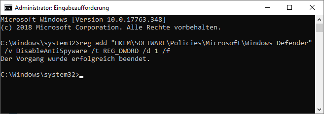 Windows Defender per Konsolenbefehl deaktivieren