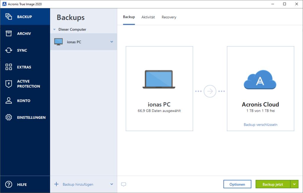 Acronis Cloud Backup - Backup-Umfang