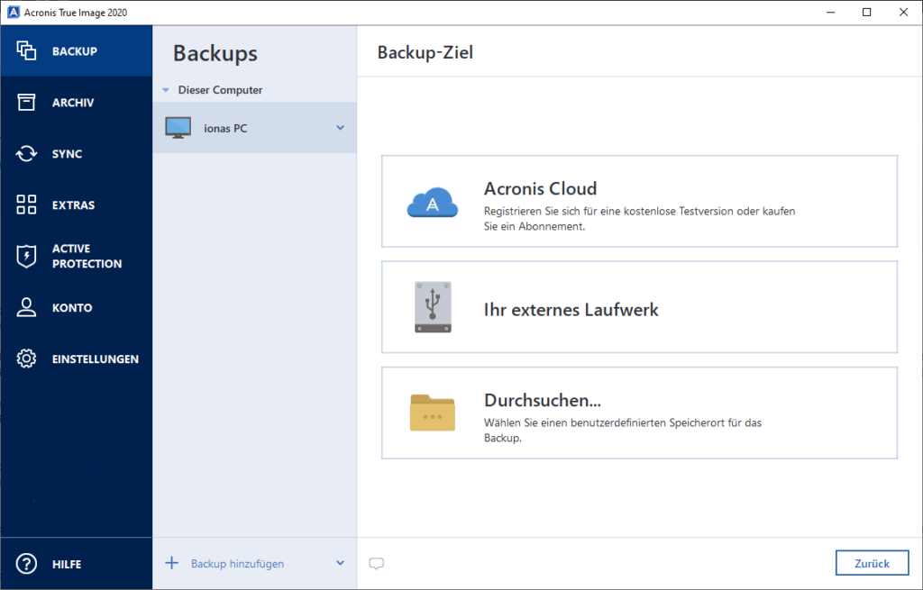 Acronis Cloud Backup - Backup-Ziel