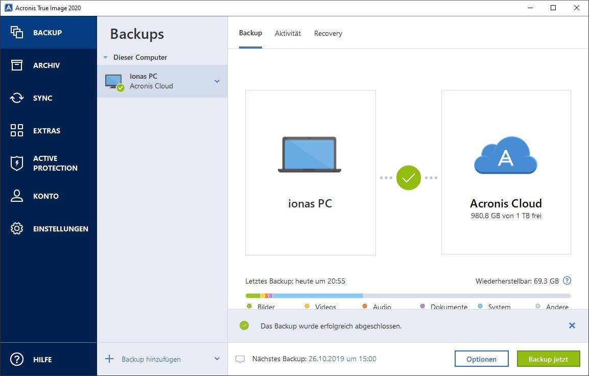 Acronis Cloud Backup - Erfolgreicher Abschluss eines Backups