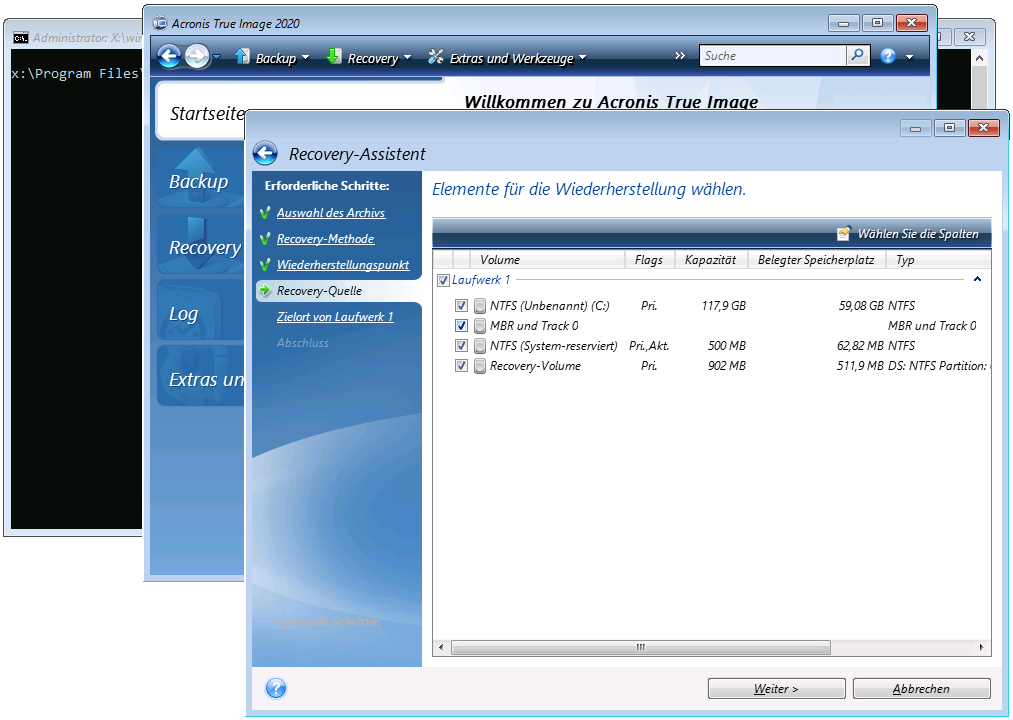 Acronis Cloud Backup Recovery - Wiederherstellungsumfang