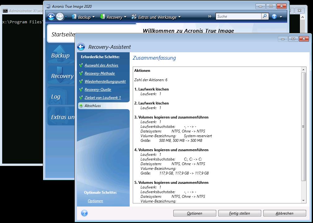 Acronis Cloud Backup Recovery - Zusammenfassung des Wiederherstellungsvorgangs