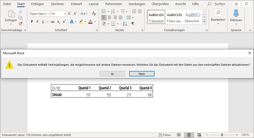 Automatische Aktualisierung beim Öffnen eines Word Dokuments mit verknüpfter Tabelle