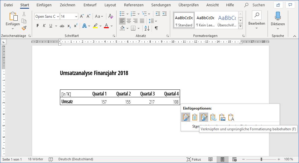 Einfügeoptionen in Word für Excel Tabelle