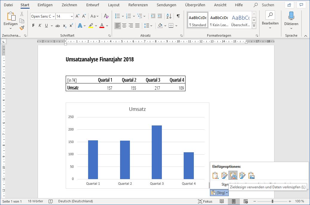 Einfügeoptionen in Word für Excel Diagramm